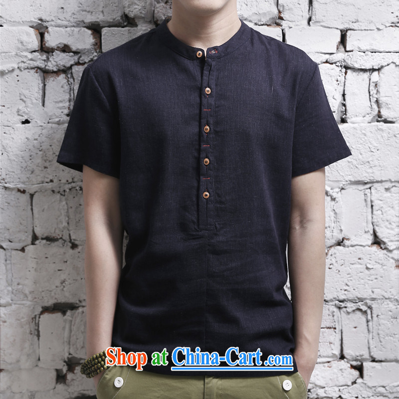 2015 men's short-sleeved cotton shirt the commission established for Korean Solid Color casual linen shirt click the buckle black 5 XL, Dan Jie Shi (DAN JIE SHI), online shopping