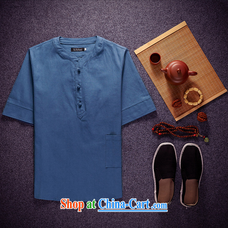 Summer 2015 New Men's shirts multi-colored round-collar China wind-tie the code linen shirt men's short-sleeved shirt T shirt Peacock Blue 5 XL _175 - 190 _