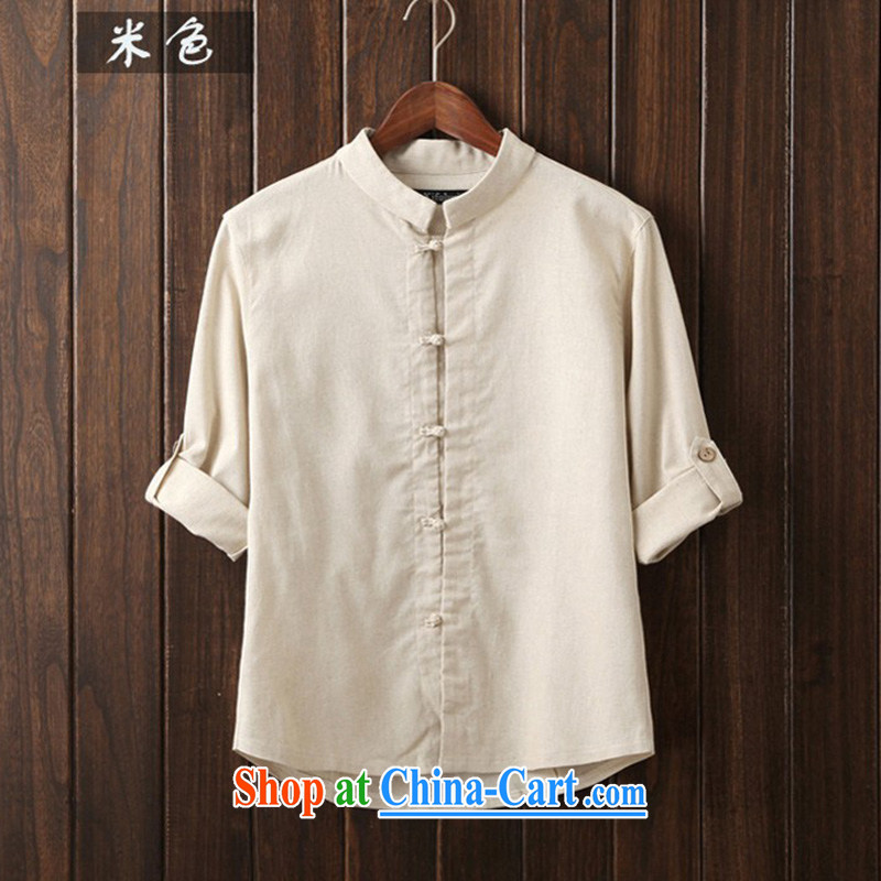 Spring and Autumn 2015, men's linen shirt single men detained China craze, men's shirts to the beige 3XL (recommended weight 140 - 160