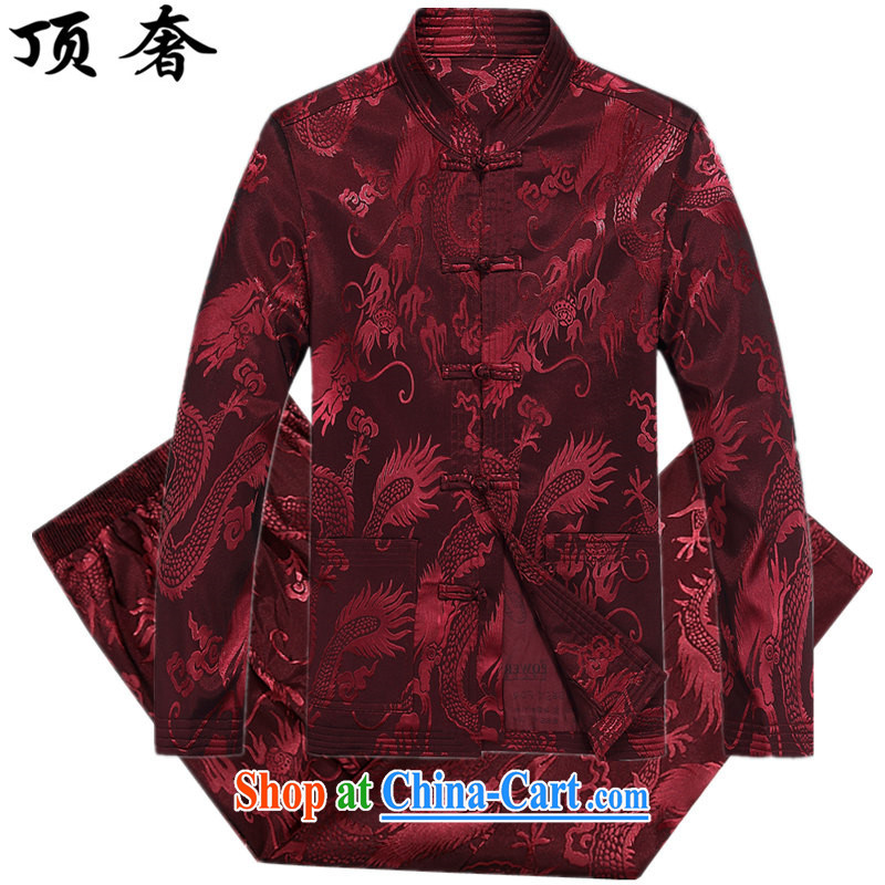 Top Luxury men's long-sleeved T-shirt middle-aged and older persons Chinese Tang replacing men and summer and autumn Chinese men and long-sleeved T-shirt and the older Chinese package, served the red kit XXXL/190