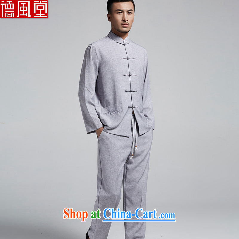 De-tong kit _T-shirt + pants_ cotton the men's Chinese Spring China wind up for long-sleeved T-shirt and pants hand-tie the collar retro Chinese gray 2 XL