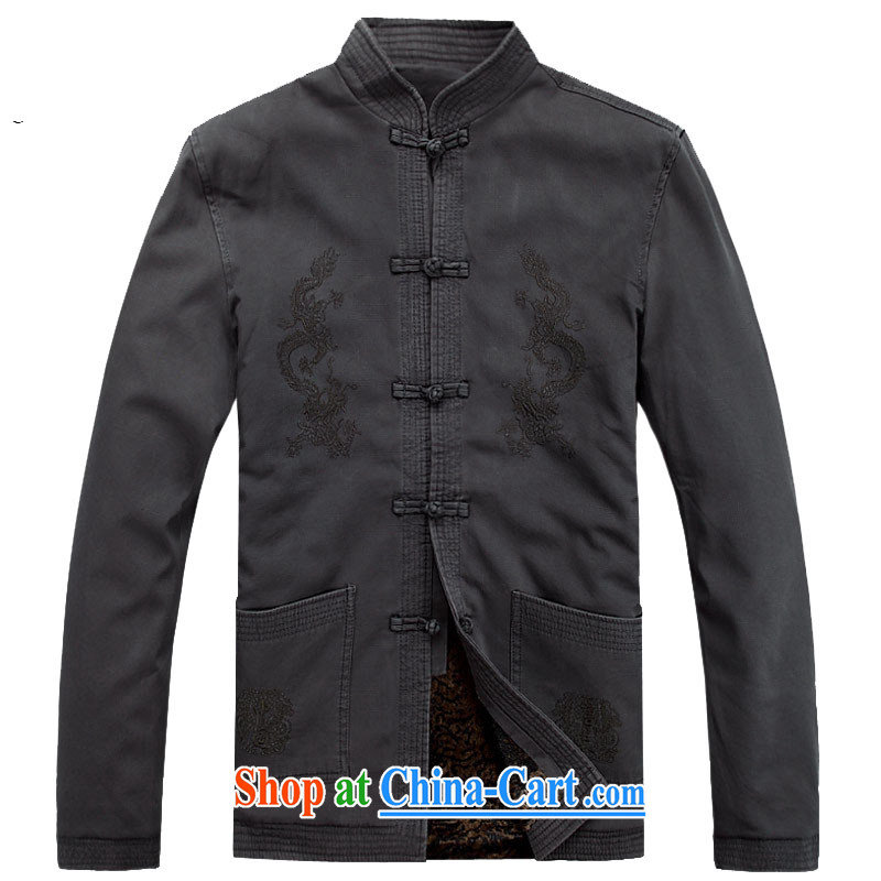 The chestnut mouse Chinese men's long-sleeved spring new men Tang jackets jacket dark gray XXXL