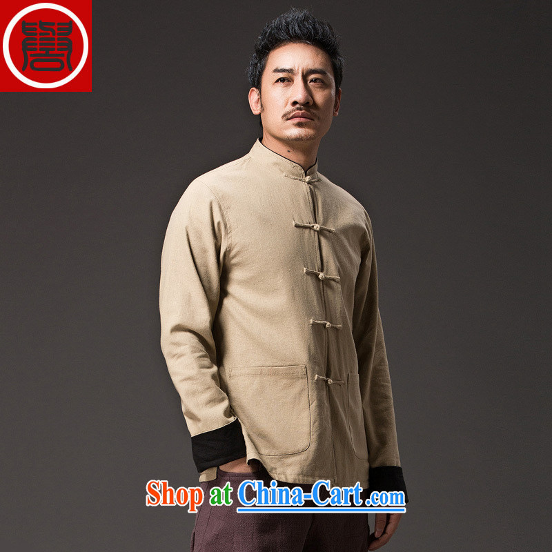 Internationally renowned Chinese style retro male Chinese loose long-sleeved Chinese, for the charge-back Chinese duplex wear clothing Chinese men's national package mail m yellow XXL