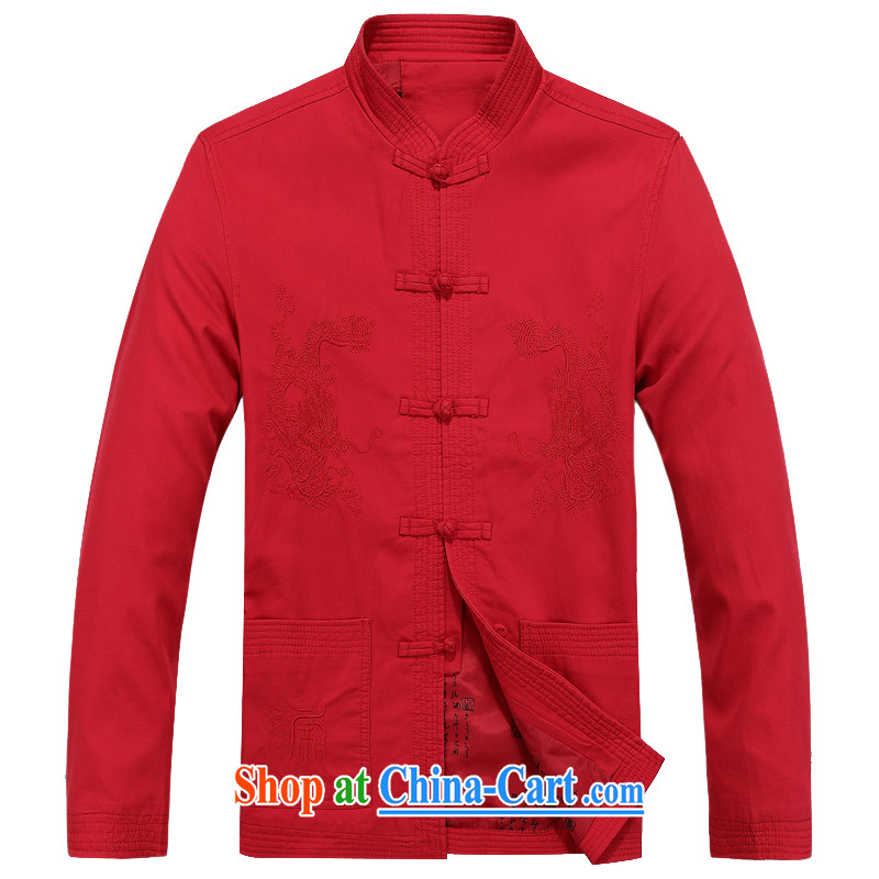 The chestnut mouse spring, Tang with breathable, older jacket jacket summer long-sleeved T-shirt, for men's shirts Tang replacing long-sleeved father red XXXL_190