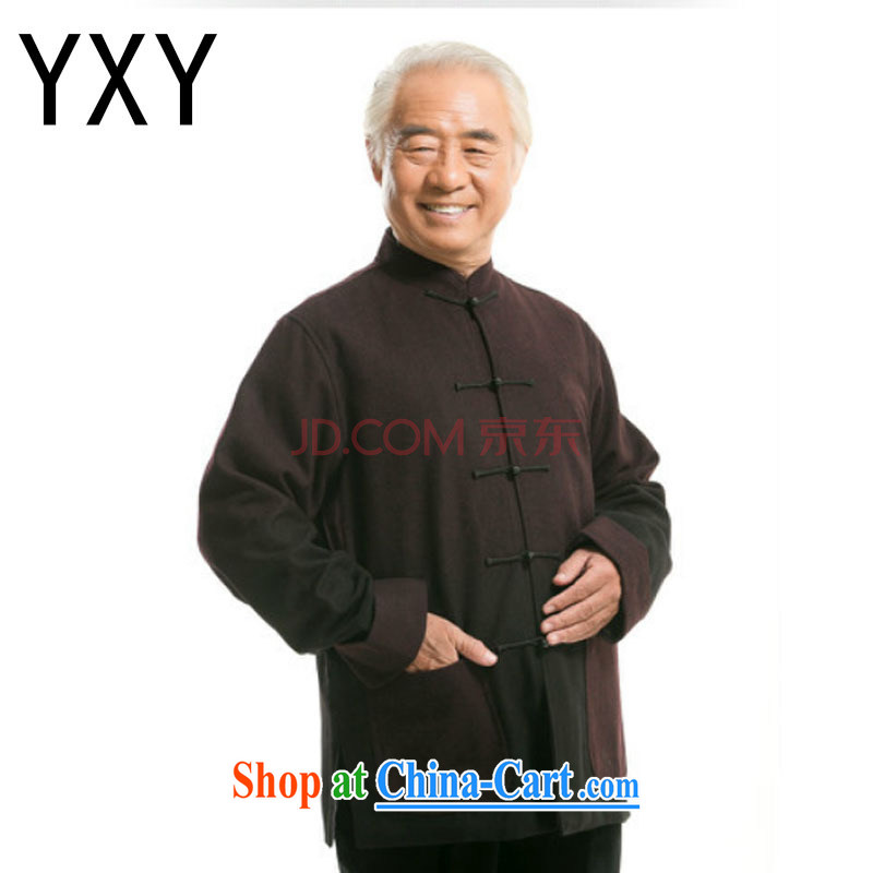 Stakeholders line cloud autumn and winter, new products, old men national improved father grandfather Tang on the spell-color T-shirt DY 0735 deep red L