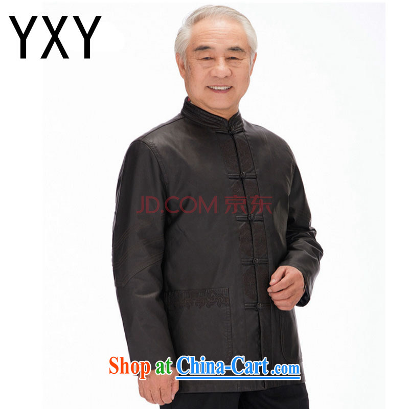 Stakeholders line cloud men Tang jackets long-sleeved PU washable leather Chinese ethnic clothing and casual shirt DYD - 818 brown L