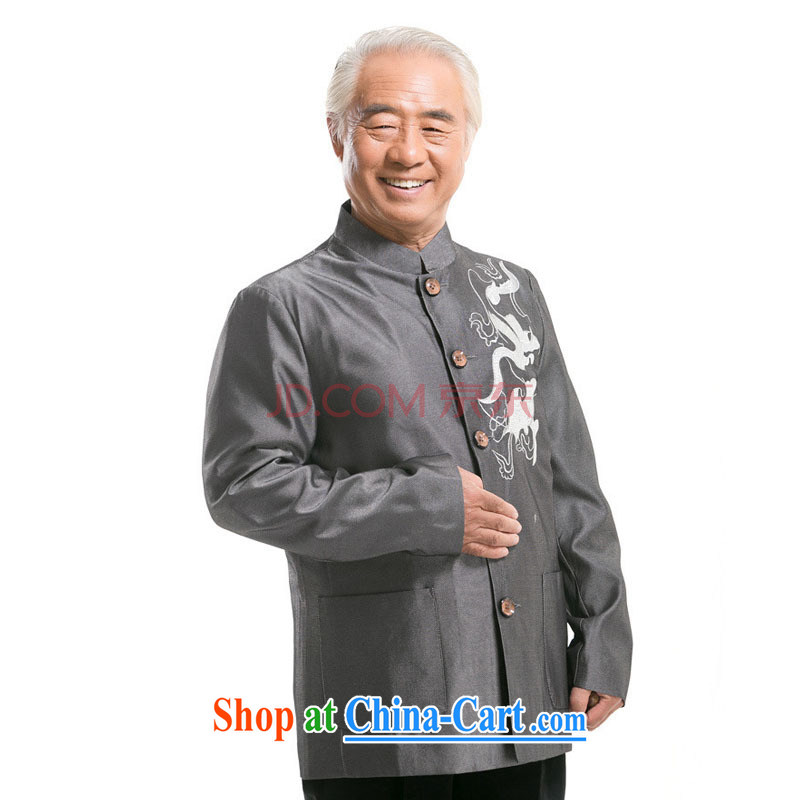 At stake line cloud embroidered dragon men's Tang with long-sleeved jacket Chinese middle-aged and older male Chinese, collared T-shirt 0733 DY gray M stakeholders, the cloud (YouThinking), and, on-line shopping