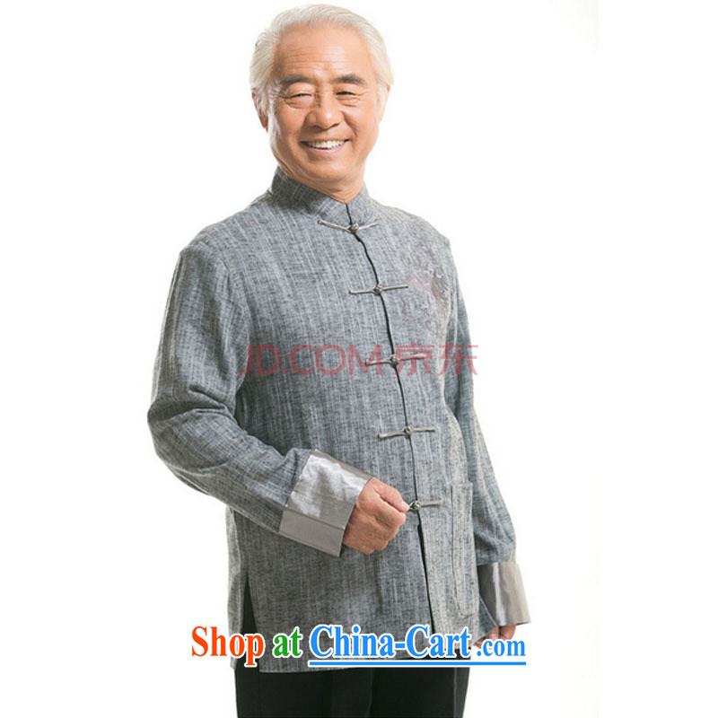 The stakeholders in the Cloud old men Tang with long-sleeved sweater autumn and winter clothing Ethnic Wind Chinese-tie father with cotton and the Light Gray L stakeholders, the cloud (YouThinking), and, on-line shopping