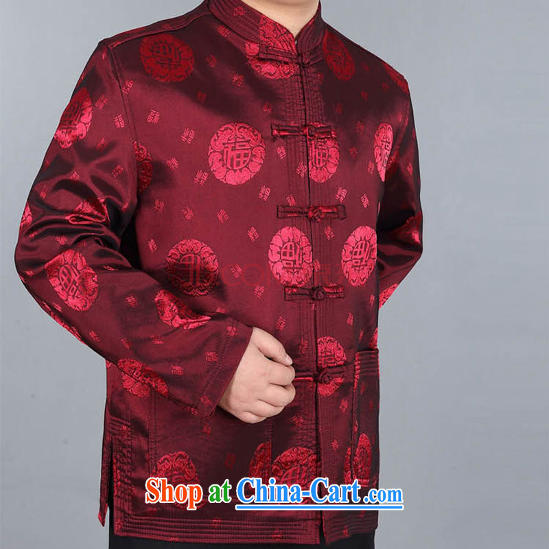 Stakeholders line cloud聽Chinese men's long-sleeved, older Chinese Han-happy father well field jacket DY 05 deep red M stakeholders, the cloud (YouThinking), and, on-line shopping