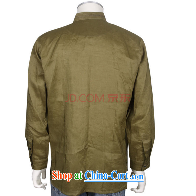 At stake line cloud improved Chinese Chinese men and taxi stand collar long-sleeved T-shirt with autumn retro shirt men and 100 solid ground DYA 1207 green beans XXL stakeholders, the cloud (YouThinking), and, on-line shopping