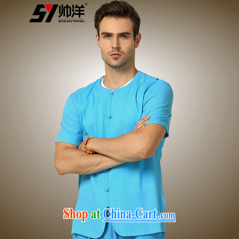cool ocean 2015 new round-collar men Chinese short-sleeved shirt cultivating China wind cotton the male summer Chinese shirt blue 180_XL