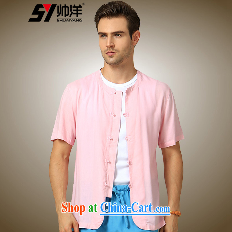 cool ocean 2015 new round-collar men's Chinese short-sleeved shirt cultivating China wind cotton the male summer Chinese shirt聽blue 180/XL, cool ocean (SHUAIYANG), online shopping