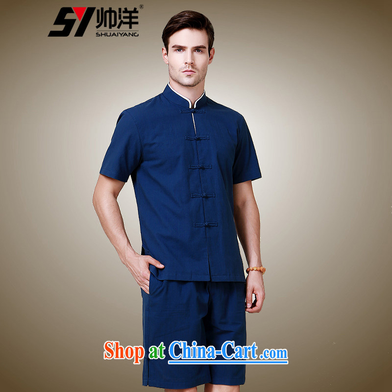 cool ocean 2015 New Men's short sleeve fitted with short-sleeved shorts Chinese-tie China wind up for national summer collection (short-sleeved shorts package 185/XXL