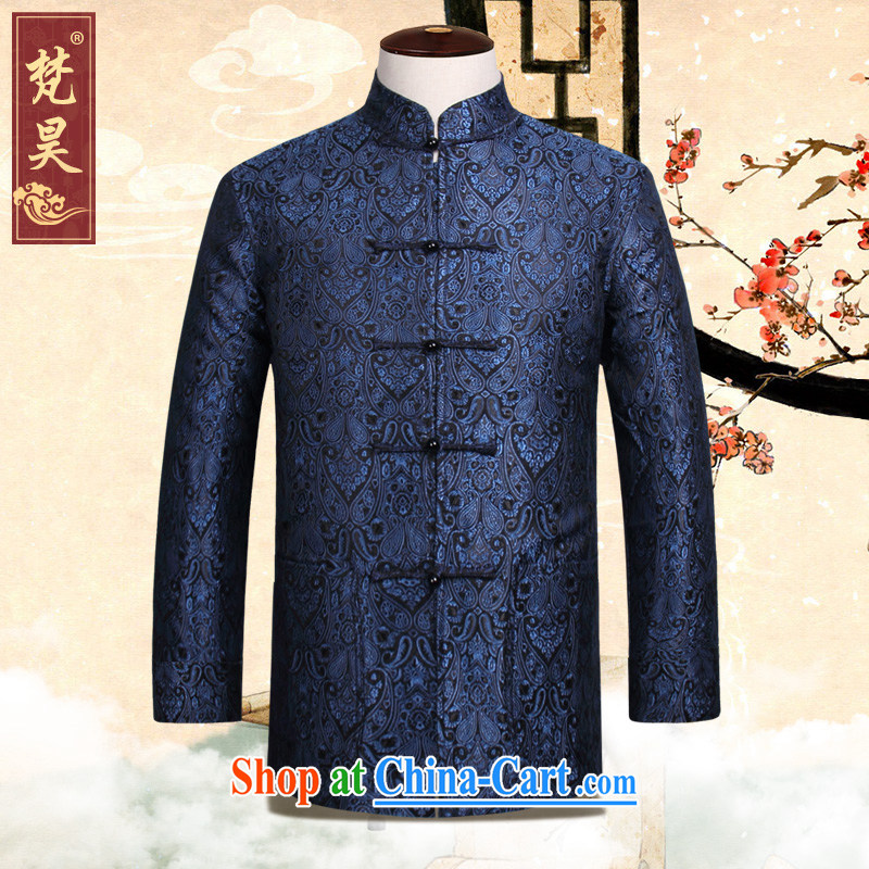 Van Gogh's new Chinese men's Autumn Chinese wind retro-tie the code older Chinese W 827 blue 4 XL