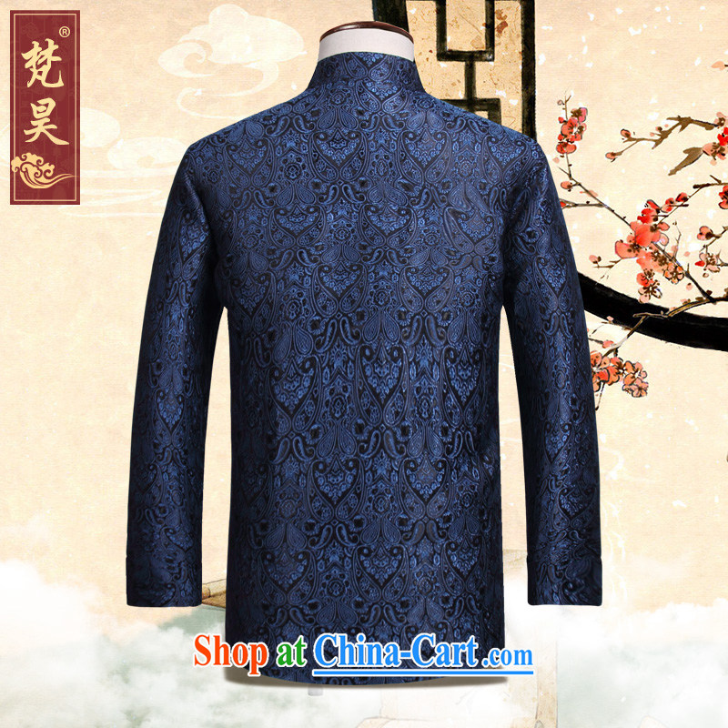 Van Gogh's new Chinese men and autumn, China wind retro-tie the code older Chinese W 827 blue 4 XL, Van Gogh-ho, shopping on the Internet
