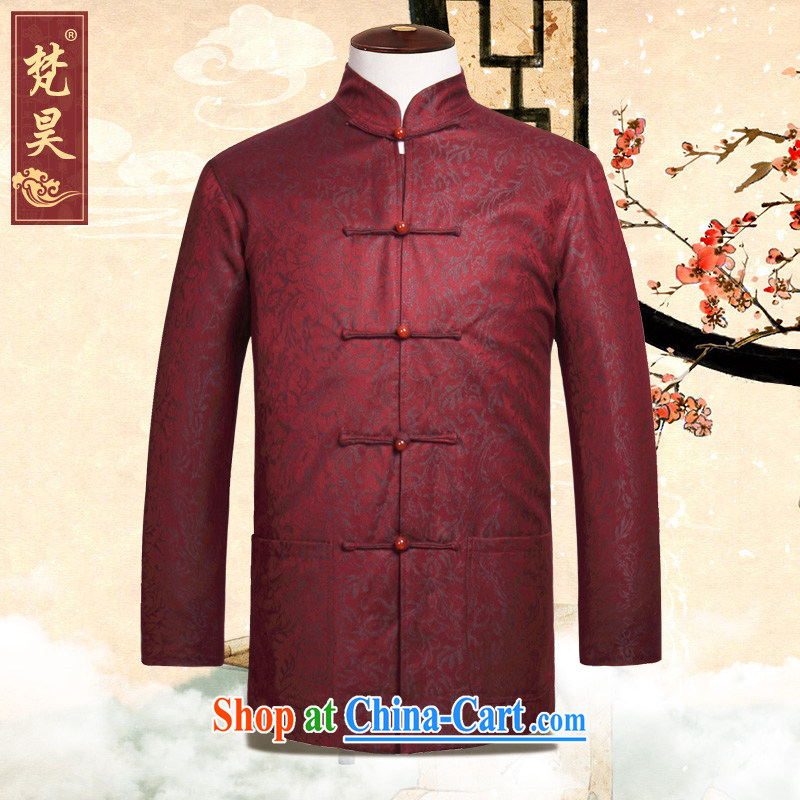 Vincent Ho Tang on men's autumn jacket, For manually-Tie long-sleeved red Tang replace W 899 red 4 XL