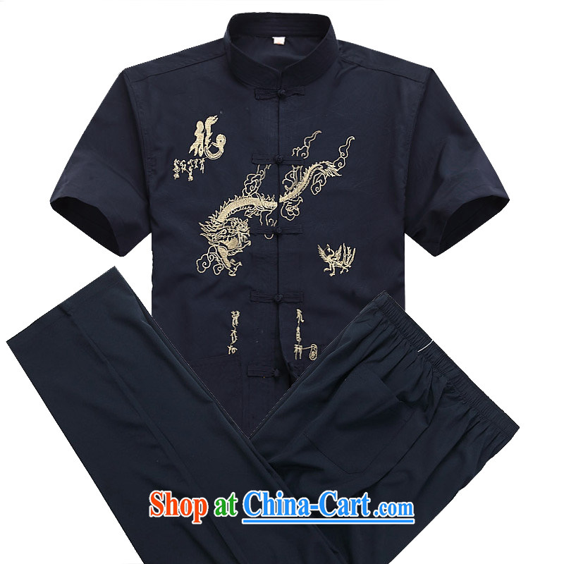 Putin's European men Tang replace short-sleeved Kit spring and summer with long-sleeved older persons in Tang replace short-sleeve kit jogging with leisure package Han-kung fu T-shirt dark blue kit S/165