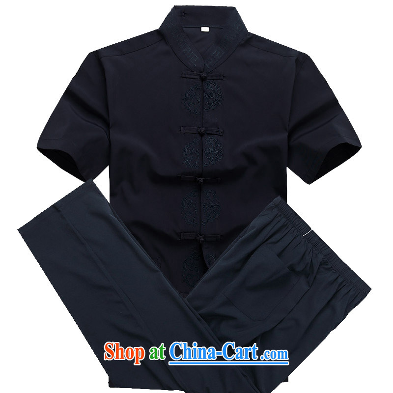 Europe's new summer, summer, and Chinese shirt China wind shirt short-sleeved, collared T-shirt Blue Kit XXXL_190