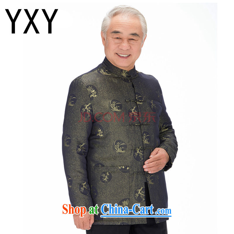 Stakeholders line cloud Chinese autumn and winter with thick quilted coat cotton suit Chinese improved Chinese T-shirt, old 鑵婃 orchids flower DYD - 14,018 green M