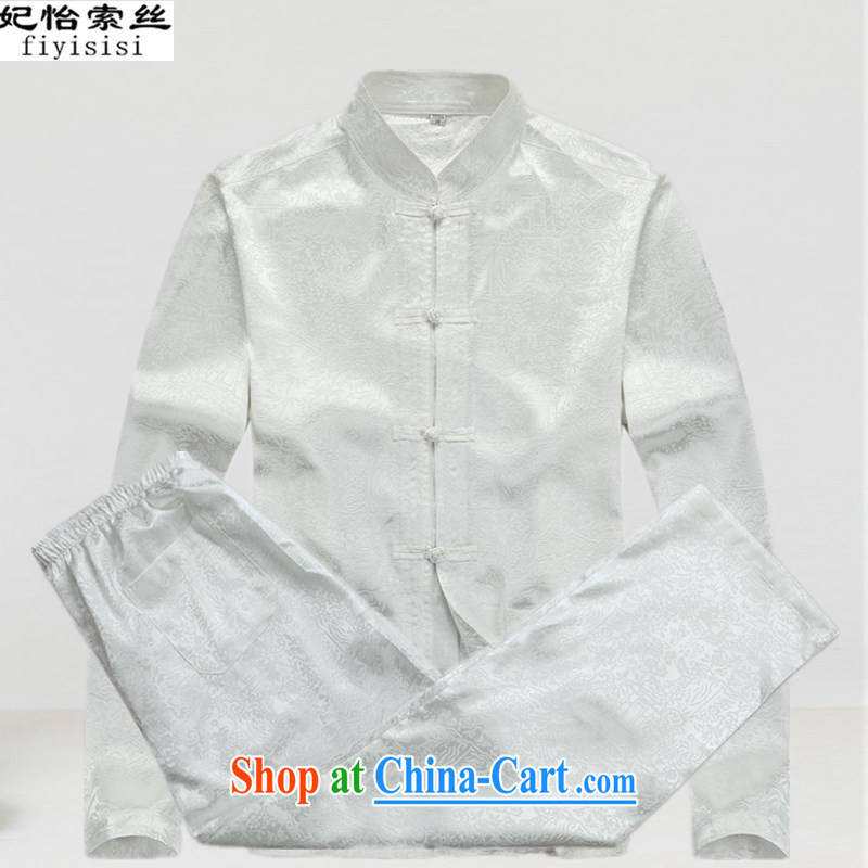 Princess Selina CHOW in men's long-sleeved T-shirt middle-aged and older persons Chinese Tang replace men and summer and autumn Chinese men and long-sleeved T-shirt and long-sleeved Chinese men's solid white uniform Kit 190