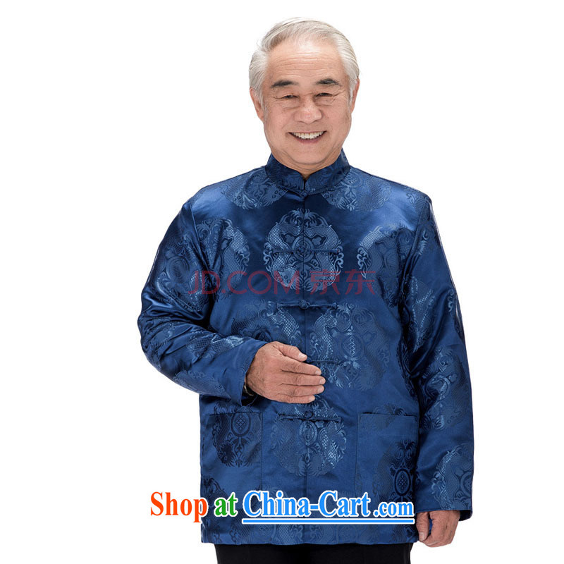 Stakeholders line cloud Tang with long-sleeved jacket Chinese double-lung ethnic replace the snap-cotton clothing, older men and jacket Autumn and Winter load DY 0758 blue L stakeholders, the cloud (YouThinking), and, on-line shopping