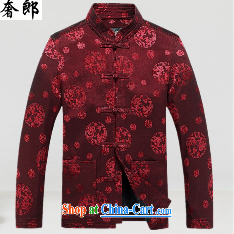 extravagance, autumn and winter Chinese men and thick cotton suit large code jacket older large code jacket Tang fitted parka brigades