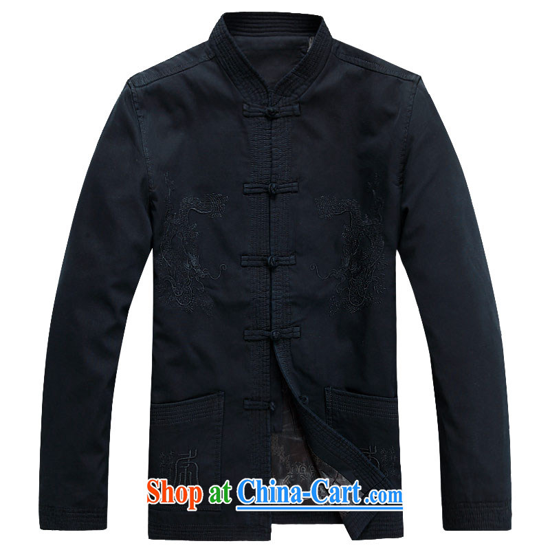 The chestnut mouse New Men's Tang jackets long-sleeved T-shirt, for Chinese wind and rain jacket, Older ethnic costumes Chinese, for men's dark blue XXXL
