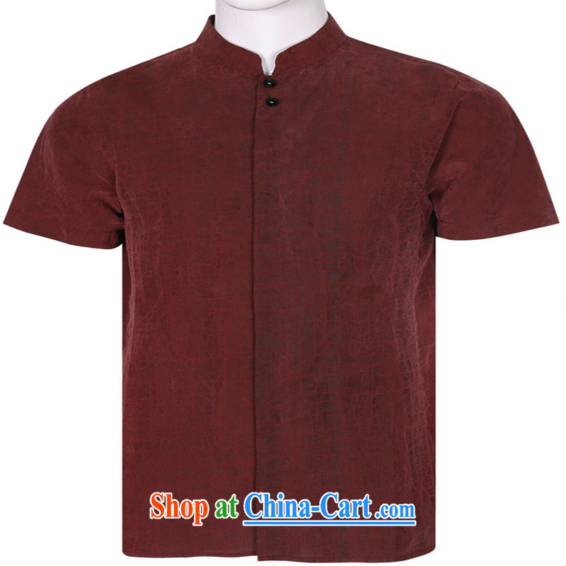 To Kowloon Chinese summer 2015 New China wind men's Silk short-sleeved, shirt for 15,071 blue 48 yards deep red 52