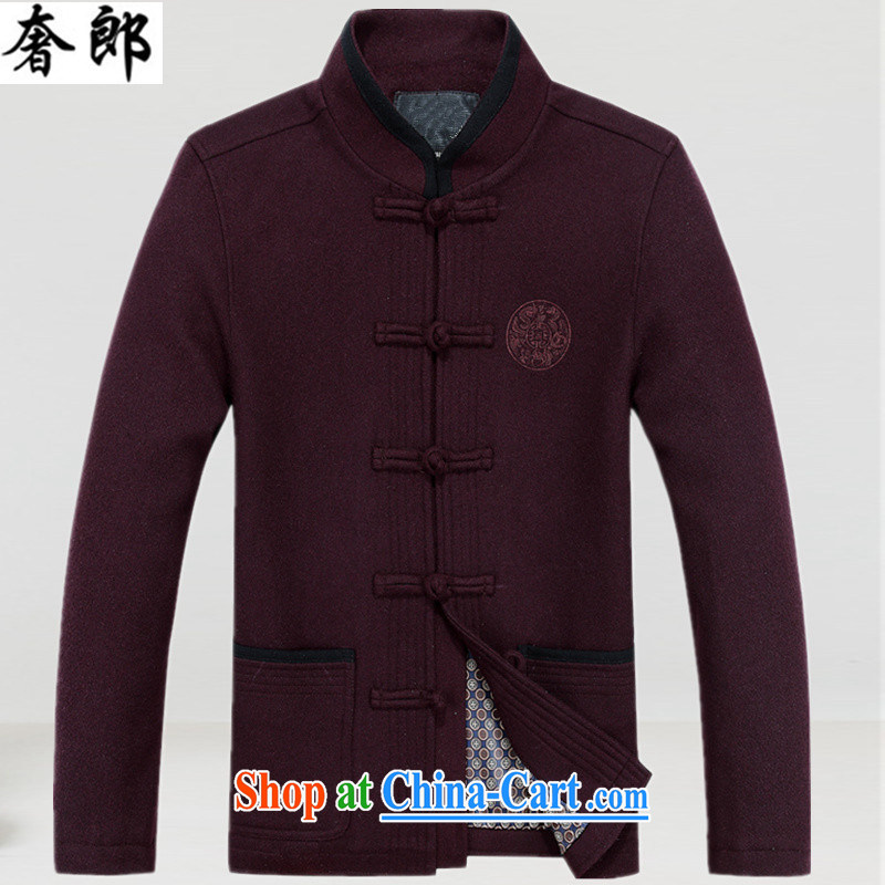 Luxury health men thick Chinese elderly in Chinese ethnic Han-spring and long-sleeved jacket Dad T-shirt with improved, for the fertilizer and maroon XXXL