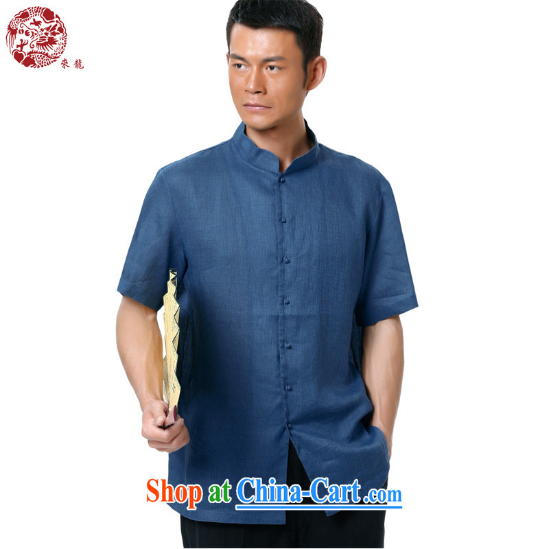 To Kowloon Chinese summer 2015 New China wind men ramie short-sleeved, shirt for 15,140 blue 48, blue 52
