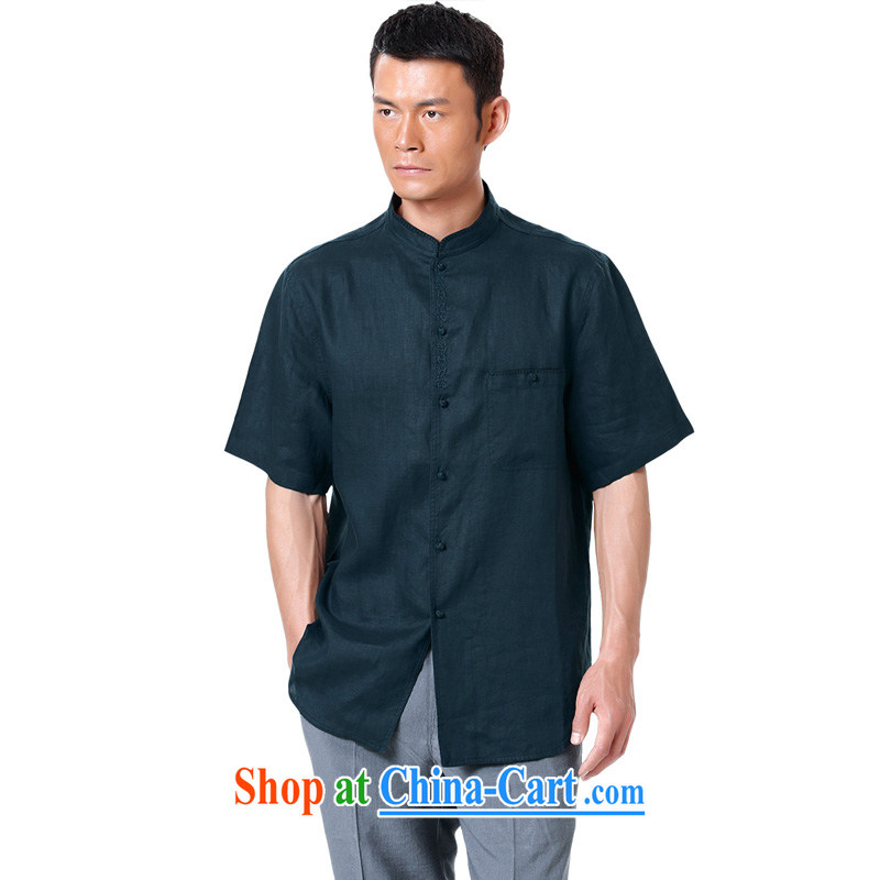 To Kowloon Chinese summer 2015 New China wind men's linen short-sleeve shirt 15,025 - 1 dark 48, dark green 52