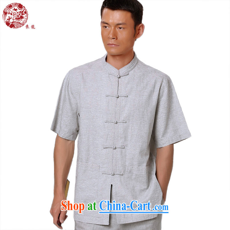 To Kowloon Chinese summer 2015 New China wind men's cotton mA short-sleeve shirt 15,021 - 1 light gray 48, light gray 52