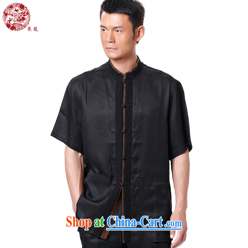 To Kowloon Tong load summer 2015 New Men's fragrance cloud yarn short-sleeved shirt 15,143 black 50, black 52