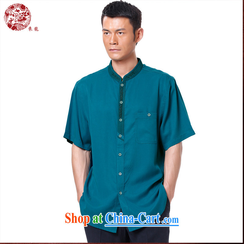 To Kowloon Chinese summer 2015 New China wind men's days, short-sleeved, shirt for 15,121 blue 46, blue 52