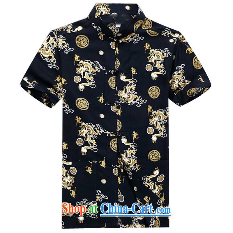 The chestnut mouse Chinese men and a short-sleeved thin men's shirts 2015 new half sleeve T-shirt with short, for men Tang black XXXL_190