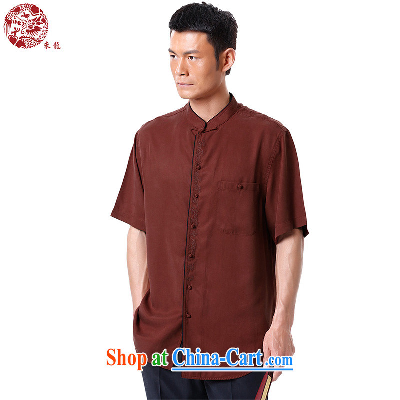 To Kowloon Chinese summer 2015 New China wind men's days, short-sleeved, shirt for 15,136 deep red 44 yards deep red 52