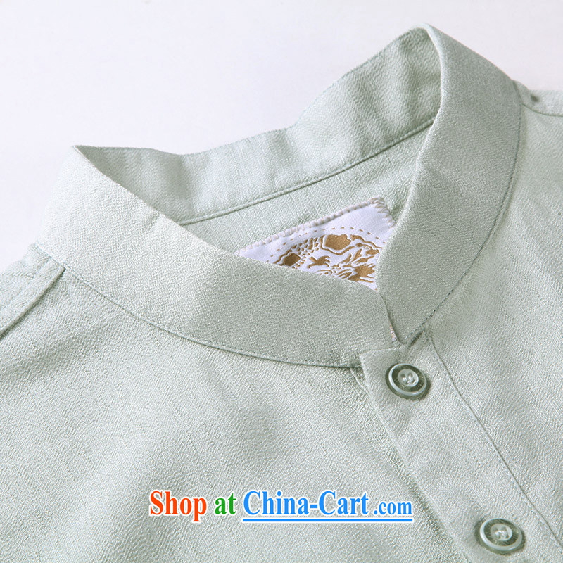 To Kowloon Tong on 2015 summer New China wind men fiber breathable, short-sleeved shirt 15,148 light green 48, light green 52 to Kowloon, shopping on the Internet