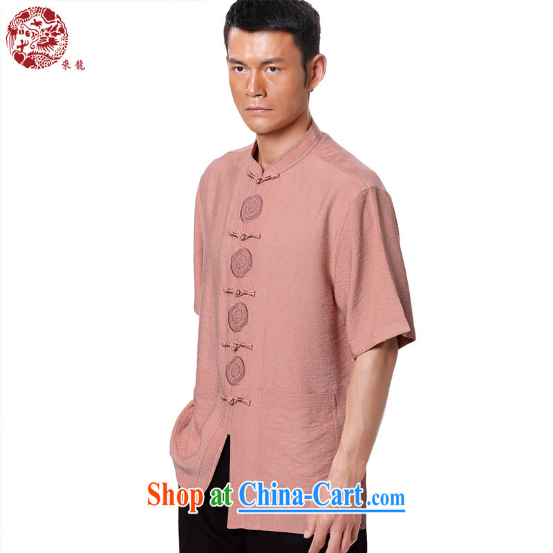 To Kowloon Chinese summer 2015 New China wind men fiber breathable, short-sleeved shirt 15,138 pink 48 code pink 52
