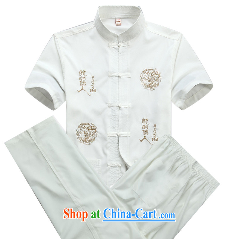 The Beijing Summer new, older Chinese wind men's Chinese Chinese package men and short sleeve with men and white package XXXL/190
