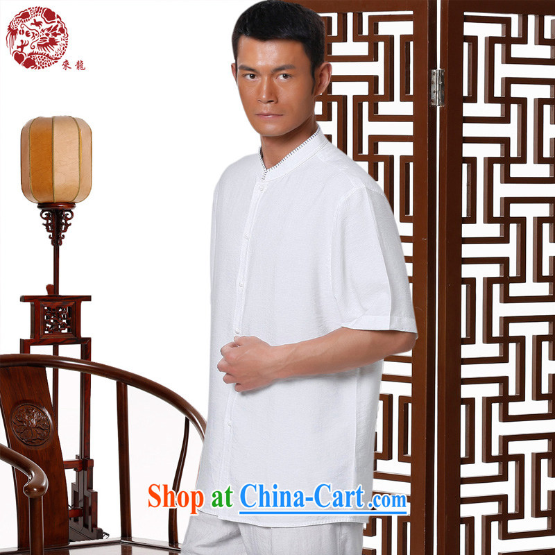 To Kowloon Chinese summer 2015 New China wind men Fiber Blue and white porcelain T-shirt 15,005 - 1 white 48, white 52