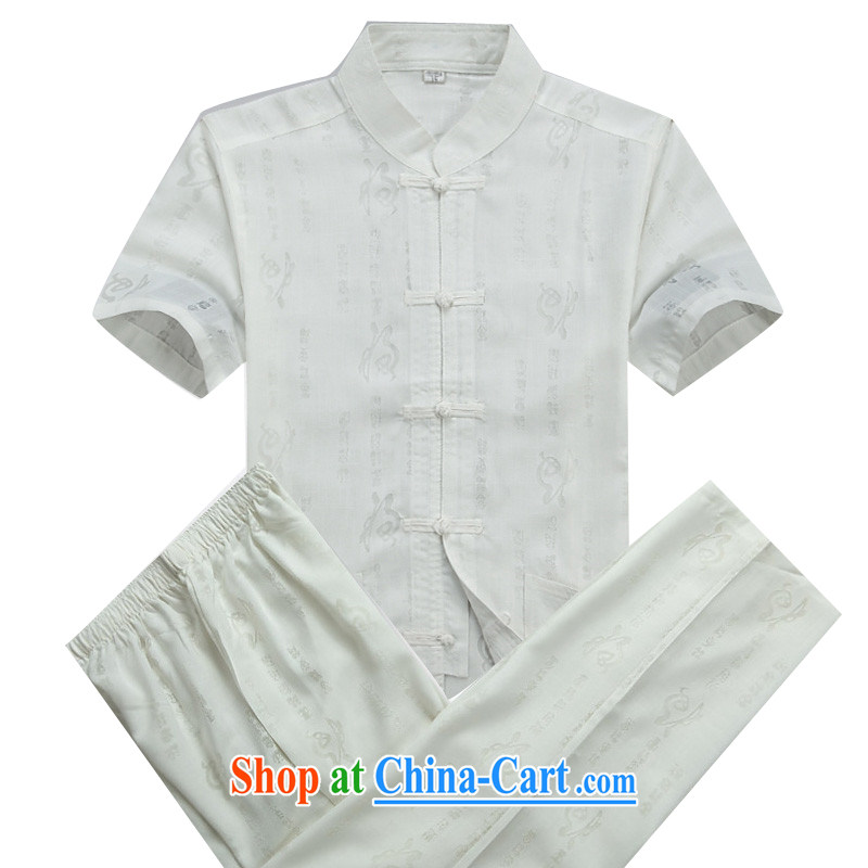 Putin's Europe in the New Men's Chinese short-sleeved summer linen china Chinese, blue collar middle-aged hand-tie men's improved Chinese package half sleeve shirt cynosure serving white package XXXL_190