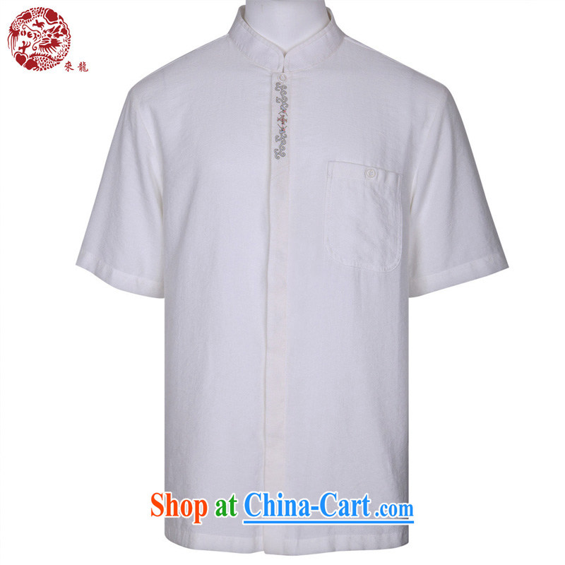 To Kowloon Chinese classic summer China wind fiber men's casual short-sleeved shirt 15,147 white 48, white 52