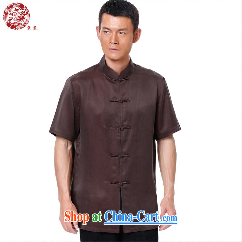 To Kowloon Chinese summer 2015 New China wind men's Sauna silk short-sleeved shirts, collar shirt 15,015 deep red 48 yards deep red 52