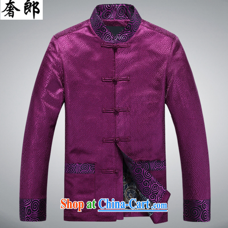 extravagance, autumn and winter new Bok-su middle-aged and older persons Tang is long-sleeved and middle-aged leading men's T-shirt men's national costumes China wind up for the fat and purple XXXL