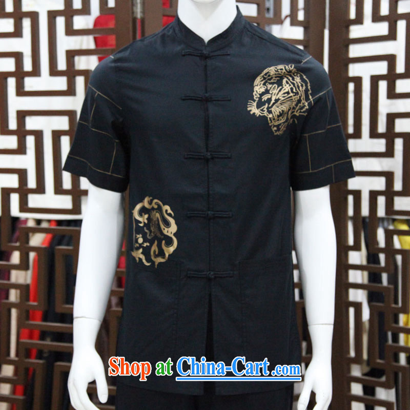 To Kowloon Chinese classic summer China wind wood fiber men's leisure short-sleeved shirt 5145 dark blue 48 code orange red 50