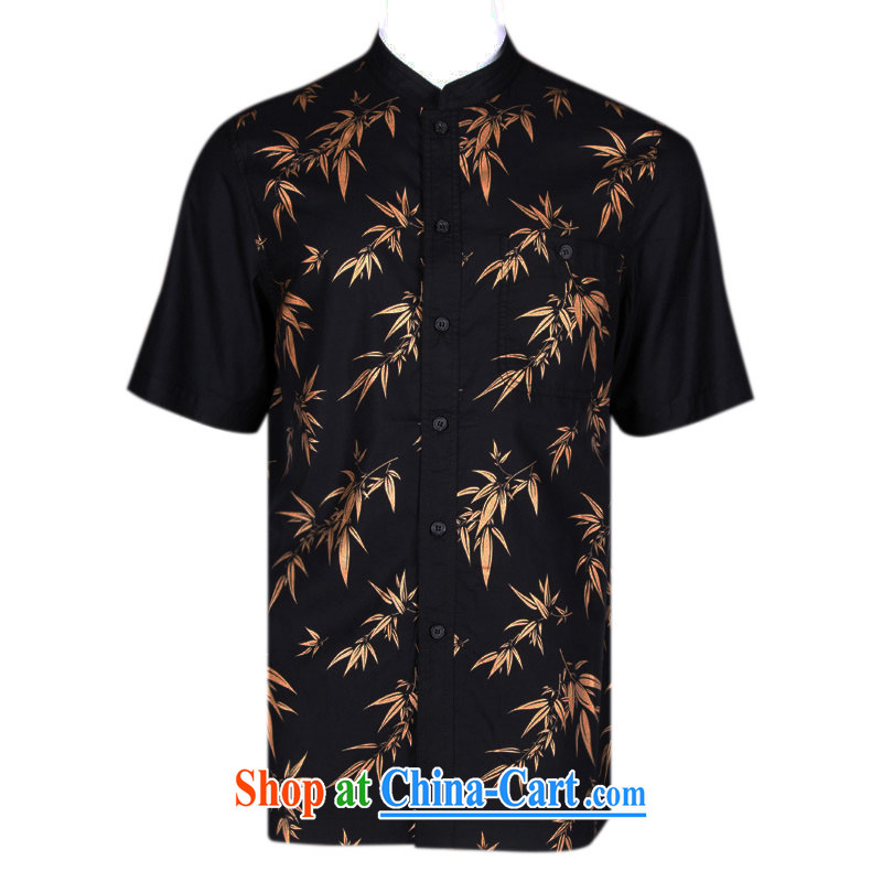 To Kowloon Chinese classic summer China wind Cotton Men's casual short-sleeved shirt 5129 dark blue 48 yards dark blue 50