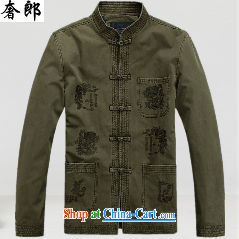 Indulge in health older Tang mounted with Grandpa spring long-sleeved Chinese men and winter clothes elderly Chinese men winter Tang with retro jacket T-shirt birthday life dress No. 1 color XXXL
