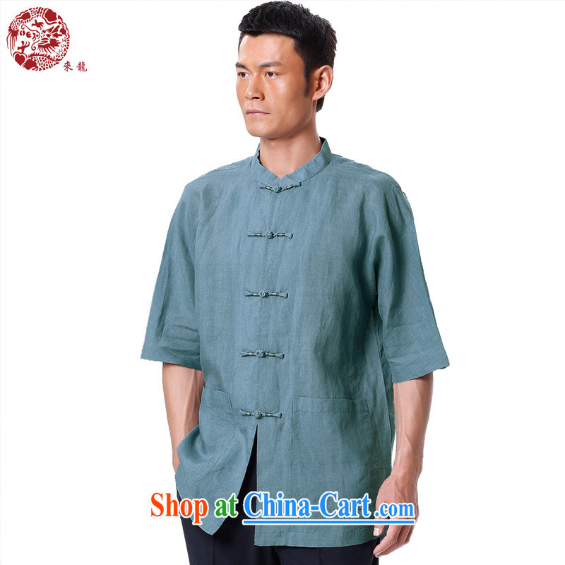 To Kowloon Tong load summer 2015 New China wind men's ramie short-sleeved shirt 15,134 blue 48, light blue 52