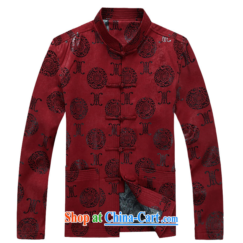 The poppy in the older male Tang jackets China wind father loaded jacket coat men's red XXXL