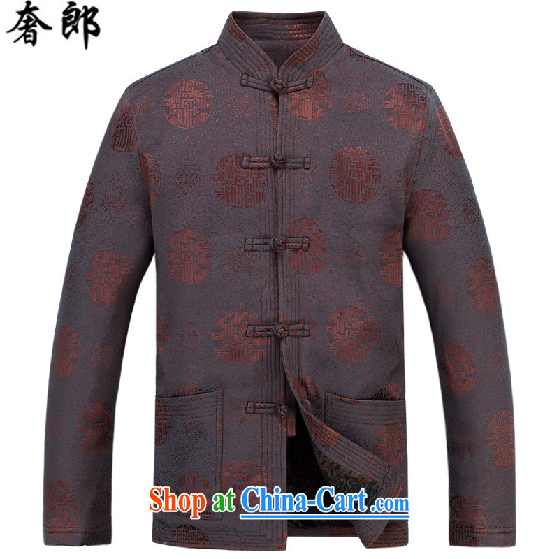 extravagance,   燼utumn and winter new Fu-shou middle-aged and older persons with Mr Henry TANG long-sleeved middle-aged, for men's T-shirt men's national dress retro improved national dress brown shirt M